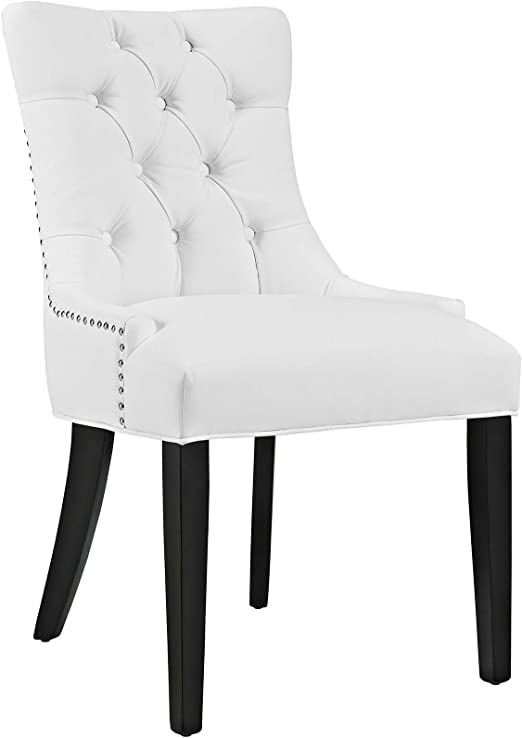 Amazon Com Modway Mo Regent Modern Tufted Faux Leather Upholstered With Nailhead Trim Dining Chair White Furniture Decor