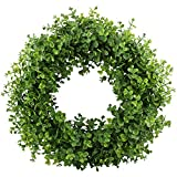 GTIDEA 16-17 inches Artificial Eucalyptus Wreath Spring Front Door Wreath Greenery Garland Home Office Wall Wedding Decor