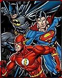 Northwest Justice League Trio Batman, Superman and Flash Fleece Throw Blanket - Soft and Warm