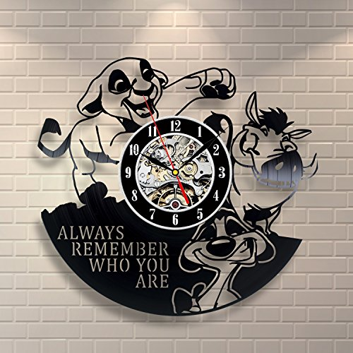 The Lion King Simba Vinyl Record Wall Clock - Decorate your home with Modern Large Disney Art - Gift for kids, girls and boys - Win a prize for a feedback
