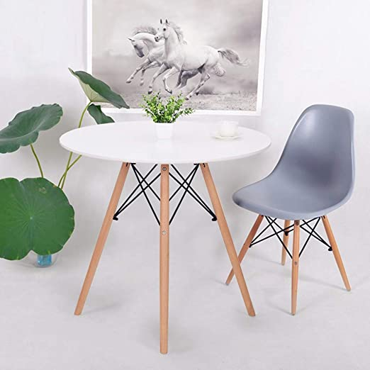 Amazon Com C Easy Modern Round Kitchen Dining Table Wooden Dining Room Tables Desk White For Small Spaces Office Conference Leisure Coffee Table With Solid Wood Legs For Kitchen Living Room White