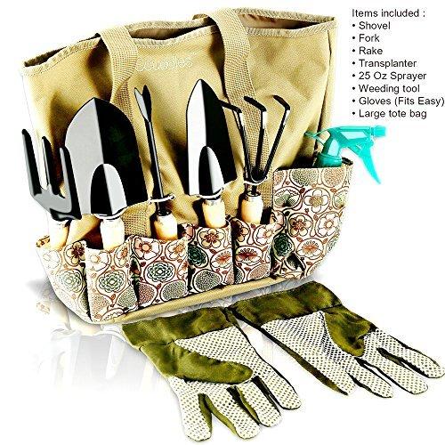 Scuddles Garden Tools Set - 8 Piece Heavy Duty Gardening tools With Storage Organizer, Ergonomic Hand Digging Weeder, Rake, Shovel, Trowel, Sprayer, Gloves Gift for Men & Women