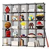 KOUSI Storage Cubes Wire Grid Modular Metal Cubbies Organizer Bookcases and Book Shelves Origami Multifunction Shelving Unit, Capacious & Customizable, Black (25 Cubes)