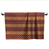 LilyDecorH Native American,Gym Towel Maya Inspired Horizontal Esoteric Latin Inspired Geometric Pattern Print Absorbent Towel Ruby Apricot W 28' x L 14'