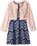 Youngland Girls' Little Sleeveless Knit Chevron Dress with Removable Jacket, Navy/Blush, 5