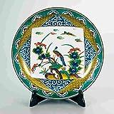 "Japanese drawn Ceramic Porcelain kutani ware with wooden box. Plateau. Big plate. Flower and birds."" Japanese ceramic Hagiyakiya 1209"