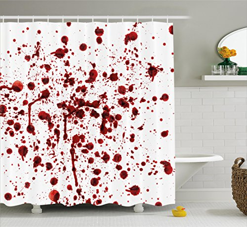 Bloody Shower Curtain Set by Ambesonne, Splashes of Blood Grunge Style Bloodstain Horror Scary Zombie Halloween Themed Print, Fabric Bathroom Decor with Hooks, 70 Inches, Red White