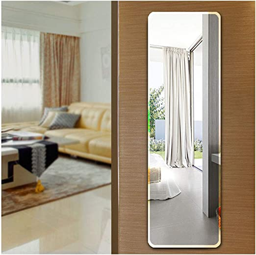 Amazon Com Ecentaur Wall Mounted Beveled Edge Mirror Doors Hanging Mirrors Full Length Glass Panel Rectangular Frameless Mirror For Bedroom Bathroom Living Room Wall Decor Furniture Decor