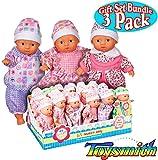 Toysmith Lil Newborn Mini Baby Dolls (6 Inch) Gift Set Bundle - 3 Pack (Assorted)