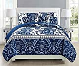 Linen Plus Twin/Twin Extra Long 2pc Quilted Bedspread Set Oversized Coverlet Floral Navy Blue White New