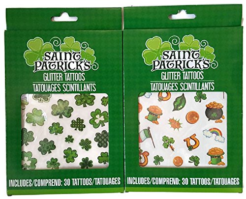 60 Saint Patrick's Day Temporary Glitter Tattoos - Bundle of 2 Sheets - Shamrocks,