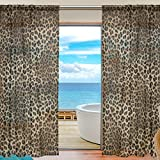 SEULIFE Window Sheer Curtain Animal Tiger Leopard Print Voile Curtain Drapes for Door Kitchen Living Room Bedroom 55x78 inches 2 Panels