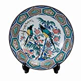 Jpanese traditional ceramic Kutani ware. Decorative Plate with a stand. Kokutani flower and bird. With wooden box. ktn-K5-1369