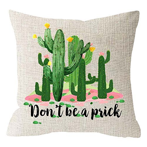 Ink Painting Tropical Plants Cactus and Succulents Summer Gift Funny Quote Don't Be A Prick Beige Cotton Linen Cushion Cover Pillow Case Cover Home Chair Couch Outdoor Decor Square 18x18 inches