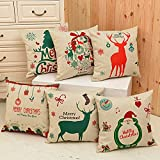 6 Packs Christmas Pillows Covers, BLUETTEK Printed Santa Claus, Christmas Tree, Deer, 18 X 18 Inch Christmas Decor Pillow Cases Cushion Covers for Bed & Sofa
