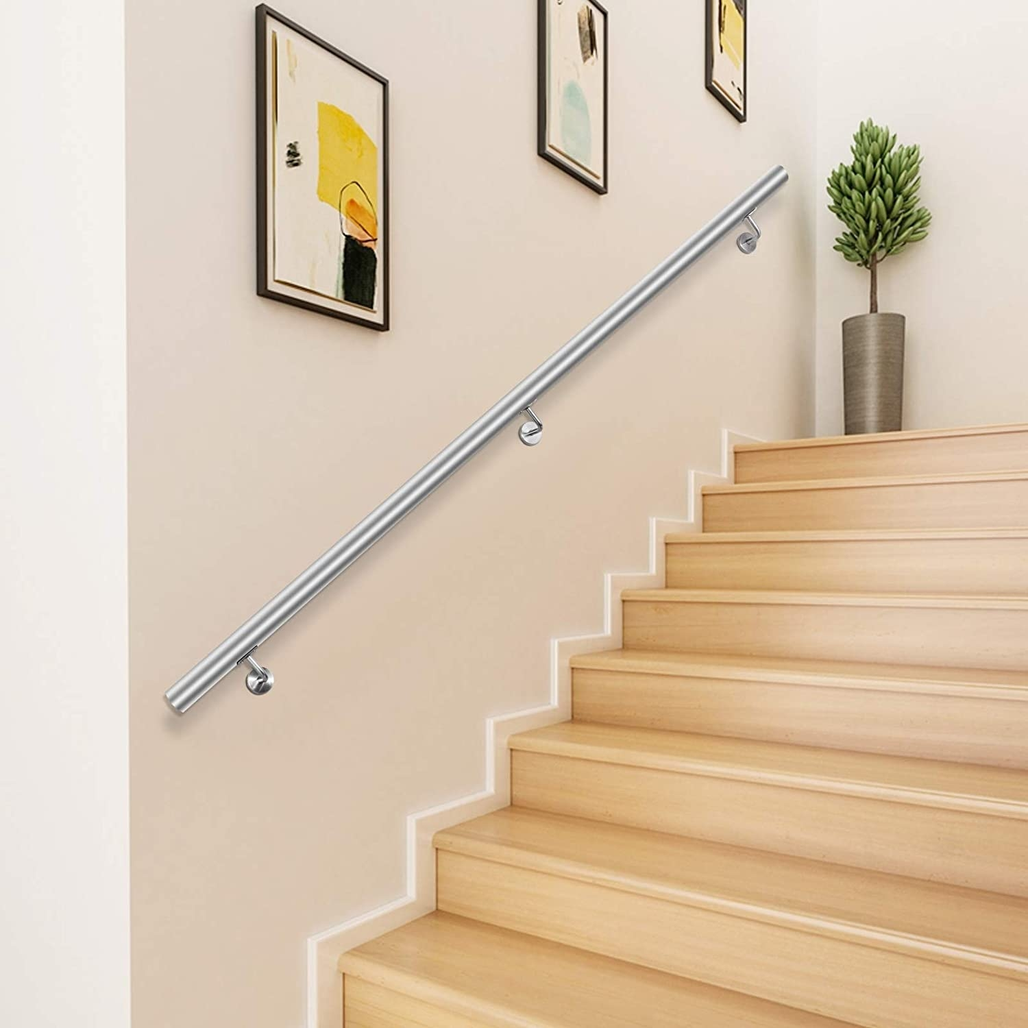 Happybuy 3 Feet Stair Handrail Stainless Steel Wall Stair Rail | Wooden Handrails For Stairs Interior | Design | Brown | Simple | Wall Mounted | Indoor