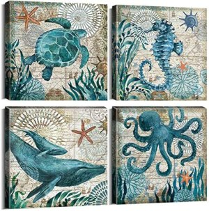 Bathroom Decor Canvas Wall Art for Living Room Home Decorations Kitchen Teal Ocean Sea Turtle Horse Octopus Pictures Accessories Nautical Beach Theme Poster Paintings Bedroom Framed Sets 4 Pcs 12×12″