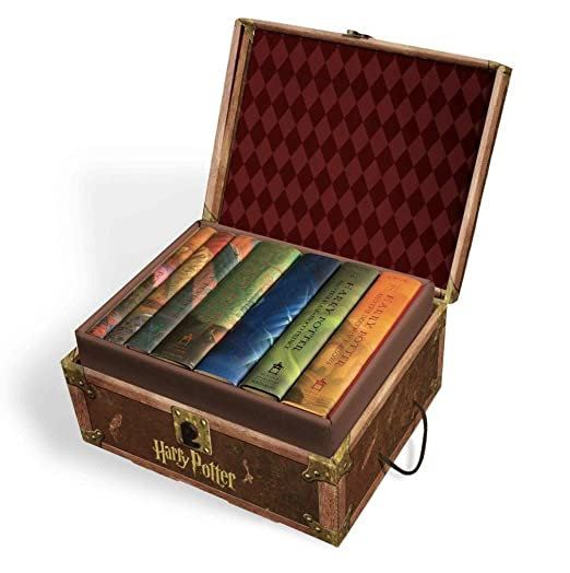 Harry Potter Books Set #1-7 in Collectible Trunk-Like Toy Chest Box, Decorative Stickers Included by Harry Potte