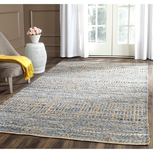 Safavieh Cape Cod Collection CAP353A Hand Woven Flatweave Natural and Blue Jute Area Rug (9' x 12')