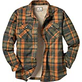 Legendary Whitetails Men's Fleece Lined Button Down Java Shirt Jac (Daybreak Orange Plaid, Small)
