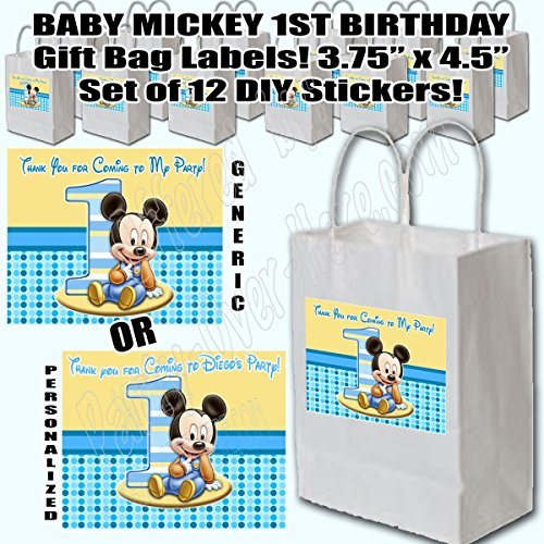 baby mickey mouse 1st birthday party favors supplies decorations gift bag label stickers only 3 75