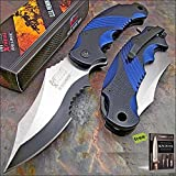 MTECH XTREME BALLISTIC BLACK BLUE SPRING ASSIST TACTICAL FLIPPER Knife + Free eBook by SURVIVAL STEEL