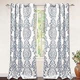 "DriftAway Samantha Thermal/Room Darkening Grommet Unlined Window Curtains, Floral/Damask Medallion Pattern, Set of Two Panels, Each 52""x84"" (Blue)"