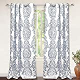 DriftAway Samantha Thermal/Room Darkening Grommet Unlined Window Curtains, Floral/Damask Medallion Pattern, Set of Two Panels, Each 52'x84' (Blue)