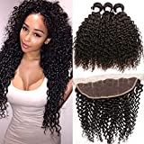 Beauty Forever Malaysian Curly Hair 3 Bundles Virgin Hair with 13x4 Lace Frontal Closure Free Part Unprocessed Human Virgin Curly Hair Weave Natural Color (20 22 24+18 Frontal)