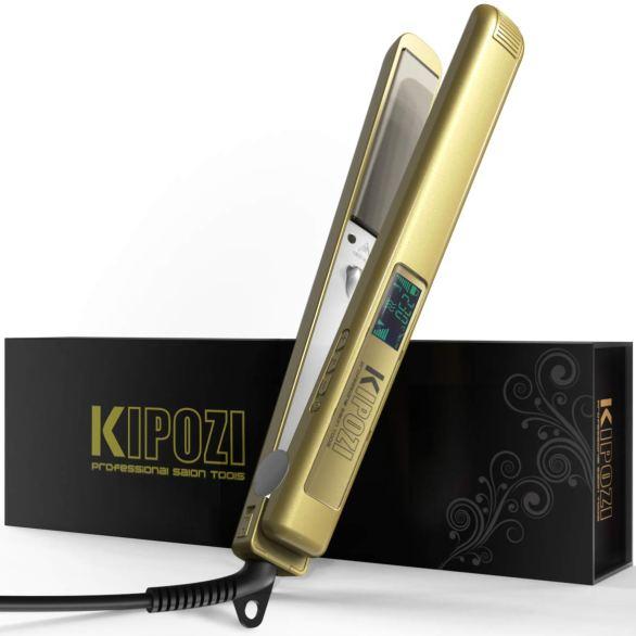 KIPOZI Pro Glätteisen Haarglätter Ionen Salon EU 230 Digital LCD ionische Titan-Platten Anti-Spliss Haarstyling Dual-Spannung,100-240 V Gold