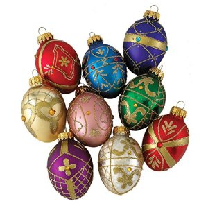 Kurt-Adler-Glass-Decorative-Egg-Ornament-45mm-Set-of-9