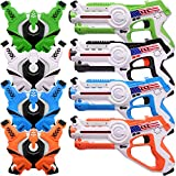 Veken Infrared Laser Tag Game Set with Gun and Vest Toy for Kids Adults - Set of 4 Players