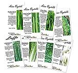 8 x Asian Vegetable SEEDS Combo - Bitter Melon, Calabash, Kai Lan, Choy Sum, Luffa, Michihili, Tat Soi, Winter Melon - By MySeeds.Co