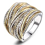 Mytys 2 Tone Gold and Silver Intertwined Design Wrapped Wire Right Hand Ring 18mm Wide (7)