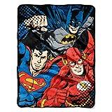 "DC Comics Justice Micro Raschel Throw Blanket, 46"" x 60"", Multi Color, 1 Count, League Trio"