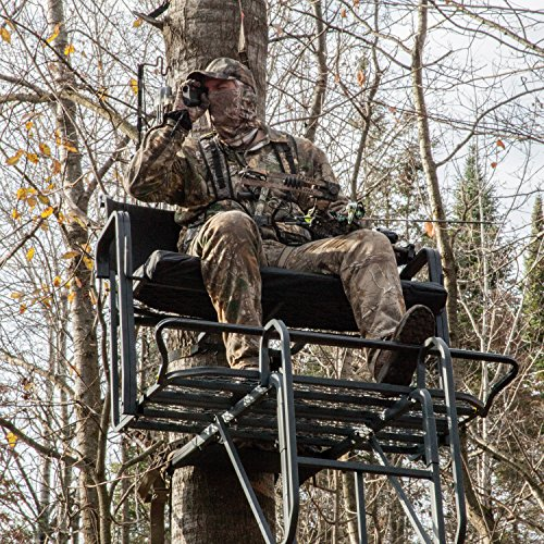 """Rivers Edge RE650, Lockdown 21' 2-Man Ladder Tree Stand, Extra Tall 21' Height with Flip-up Padded Bench Seat, Wide 42"""" Platform, Removable Shooting Rail, Flip-out Footrest, 3rd Ladder Rail, Back/Arm Rests"""