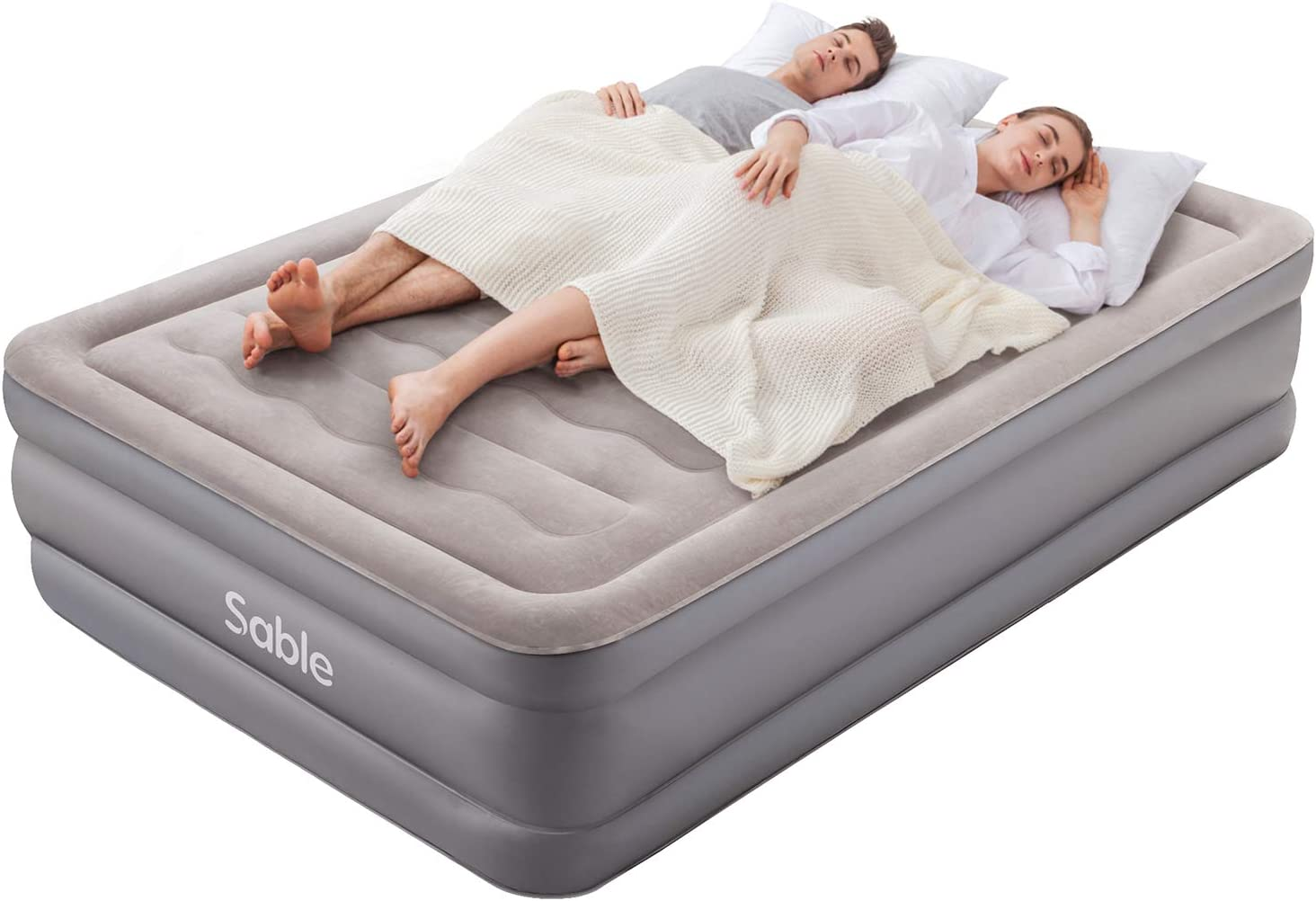 Air Bed Sable Air Mattress Double Size Inflatable Blow Up Bed With Built In Electric Pump Portable Airbeds For Family Guests And Camping Indoor Outdoor 190 X 137 X 46 Cm Amazon Co Uk