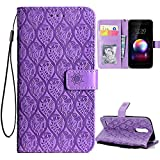 LG Aristo 2 Case,LG Tribute Dynasty/Rebel 3 LTE/X210/Zone 4/LV3 2018/LG K8 2018 Case,PU Leather Wallet Flip Case with Card Holder and Kickstand Mandala Floral Flower Phone Protective,Light Purple
