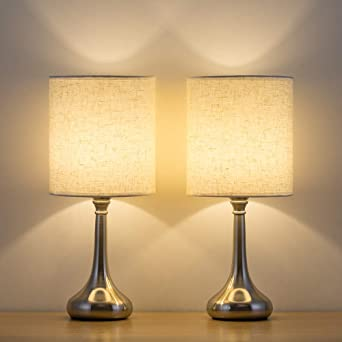 Haitral Bedside Table Lamps Set Of 2 Small Modern Nightstand Lamps With Fabric Shade Small Desk Lamps For Bedroom Living Room Family Room Hotel Silver Amazon Co Uk Lighting