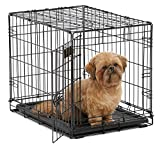 Dog Crate | MidWest iCrate 24' Folding Metal Dog Crate w/ Divider Panel, Floor Protecting Feet & Leak-Proof Dog Tray | 24L x 18W x 19H Inches, Small Dog Breed, Black