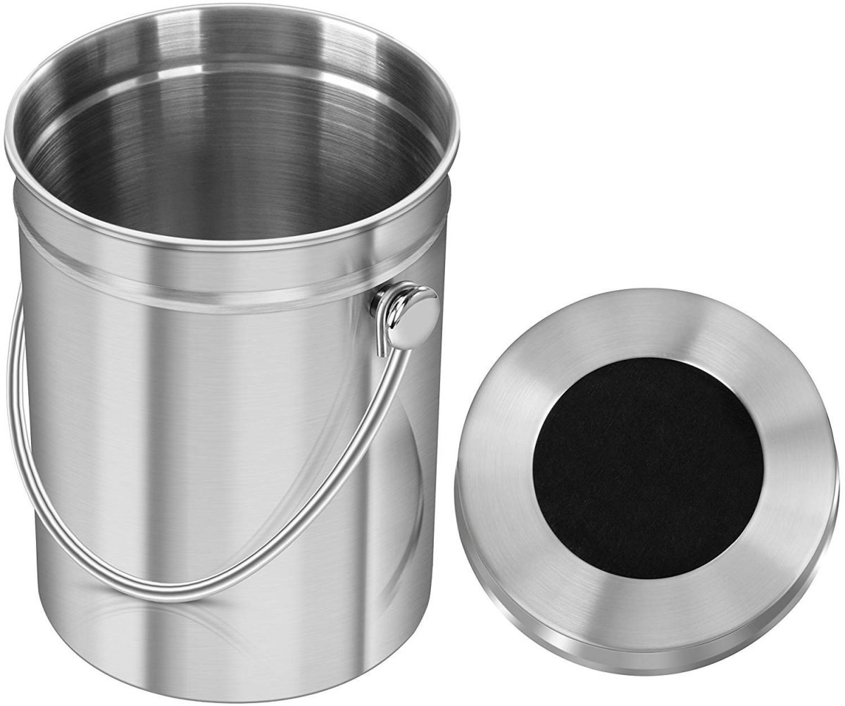 Recipiente de compostaje de acero inoxidable para encimera de cocina con filtro de carbón. Capacidad 5 Litros