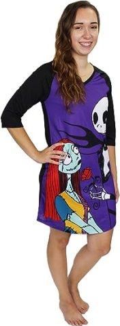 Amazon.com: Disney Nightmare Before Christmas Women's 3/4 Sleeve Dorm Nightgown Pajamas: Clothing