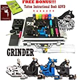 GRINDER Tattoo Kit by Pirate Face Tattoo / 4 Tattoo Machine Guns - Power Supply / 7 Ink by Radiant Colors - Made in the USA / LCD Power Supply / 50 Needles / PLUS Accessories