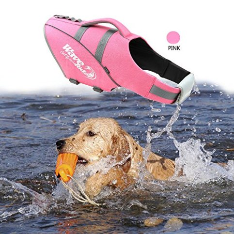 BOCHO-Wave-Riders-Reflective-Dog-LifeJacket-Super-Buoyancy-and-EVA-Lining-Adjustable-Dog-Safety-Vest-Large-Pink