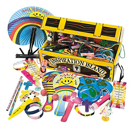 Fun Express - Religious Treasure Chest Asst (100pc) - Toys - Assortments - 100Pc Assortments - 101 Pieces