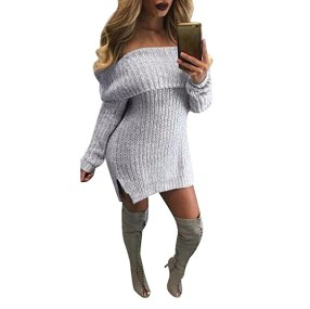 FAPIZI ♥ Women Dress ♥ Women Casual Long Sleeve Loose Knitted Jumper Off the Shoulder Sweaters Dress (S, Gray)