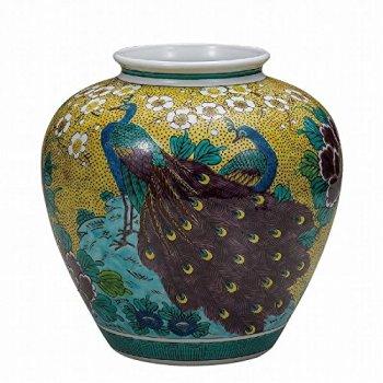 Jpanese traditional ceramic Kutani ware. Ikebana flower vase. Yoshidaya peacock. With wooden box. ktn-K5-1327