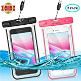 Universal Waterproof Phone Pouch, Large Phone Waterproof Case Underwater Dry Bag for iPhone X, 8, 7, 6 Plus, SE, Galaxy S9+ S8+ S7 S6 with Case, Soft TPU Pouch for All Home Button (Black+Pink)