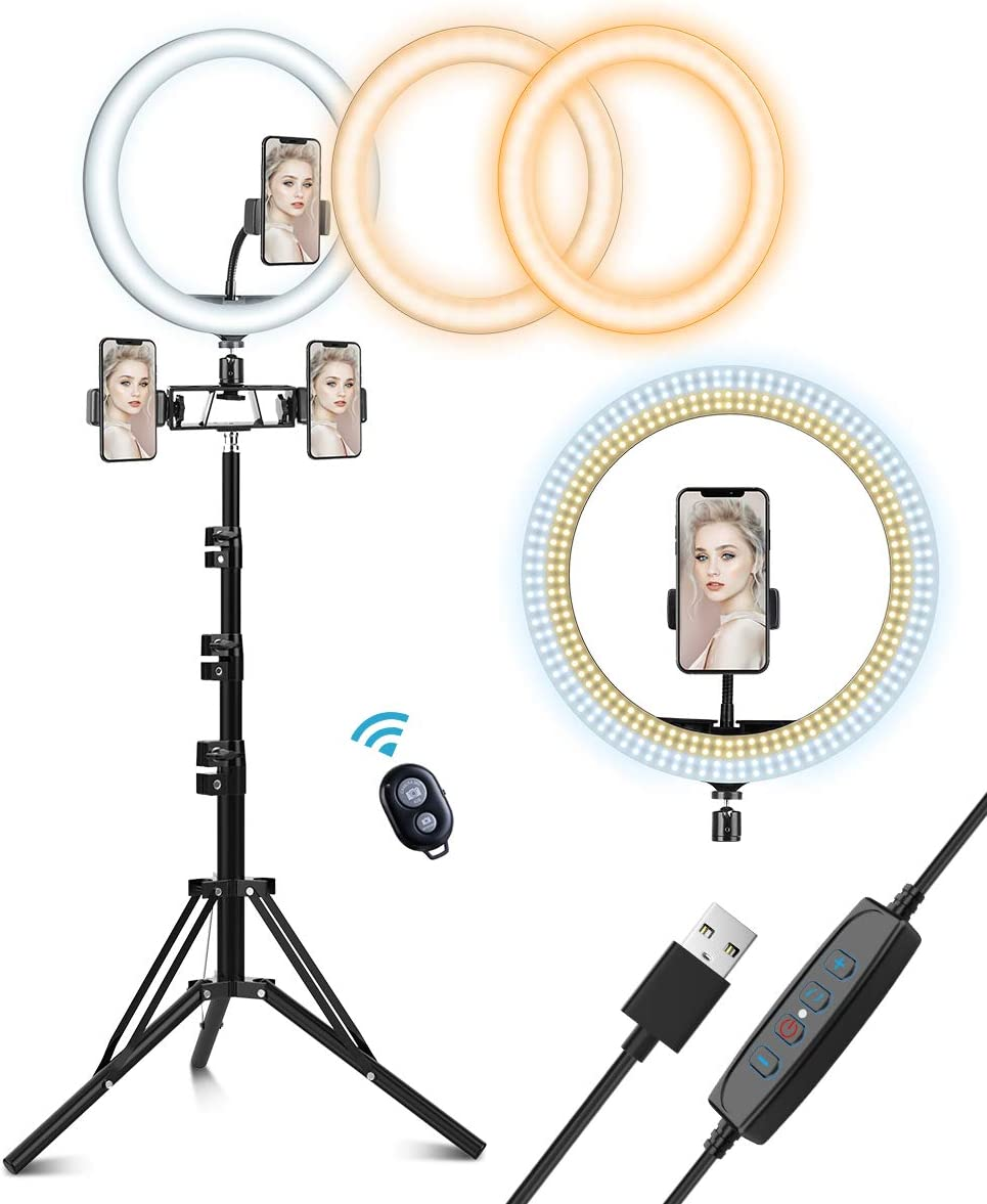 "12"" LED Ring Light with Tripod Stand, Circle Light, Selfie Ring Light, Kit with 3 Colors & 10 Brightness for Makeup/YouTube Video/Live Streaming/Camera/Phone Video Shooting"