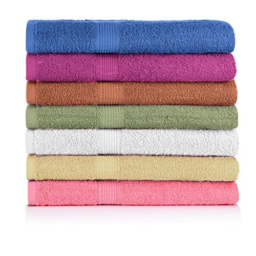 CrystalTowels 7-Pack Bath Towels - Extra-Absorbent - 100%...